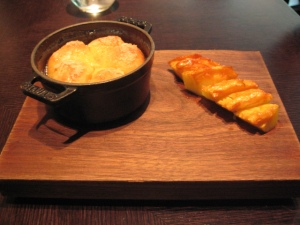 tipsy cake with spit roast pineapple